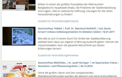Neugestaltete Mediathek der GeoComPass-Webseite in Passau