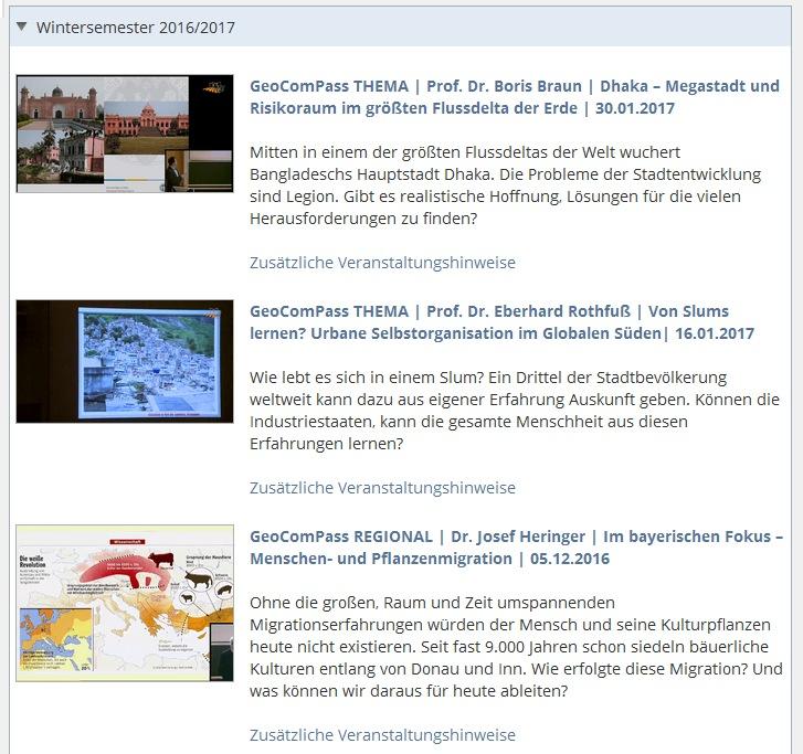 Neugestaltete Mediathek der GeoComPass-Webseite in Passau